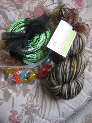 three ewes twisted in fiber yarn