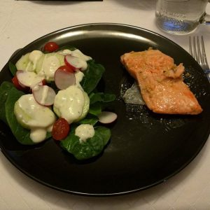 Trout with a ginger-mustard sauce and a side spinach salad. Yum! The Husbeast's culinary side strikes again...