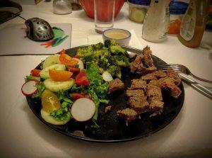 Steak plus Salad equals Yum