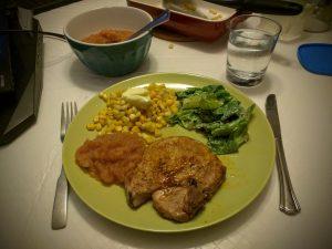 Pork Chops, Apple Sauce, Corn and a Caesar Salad