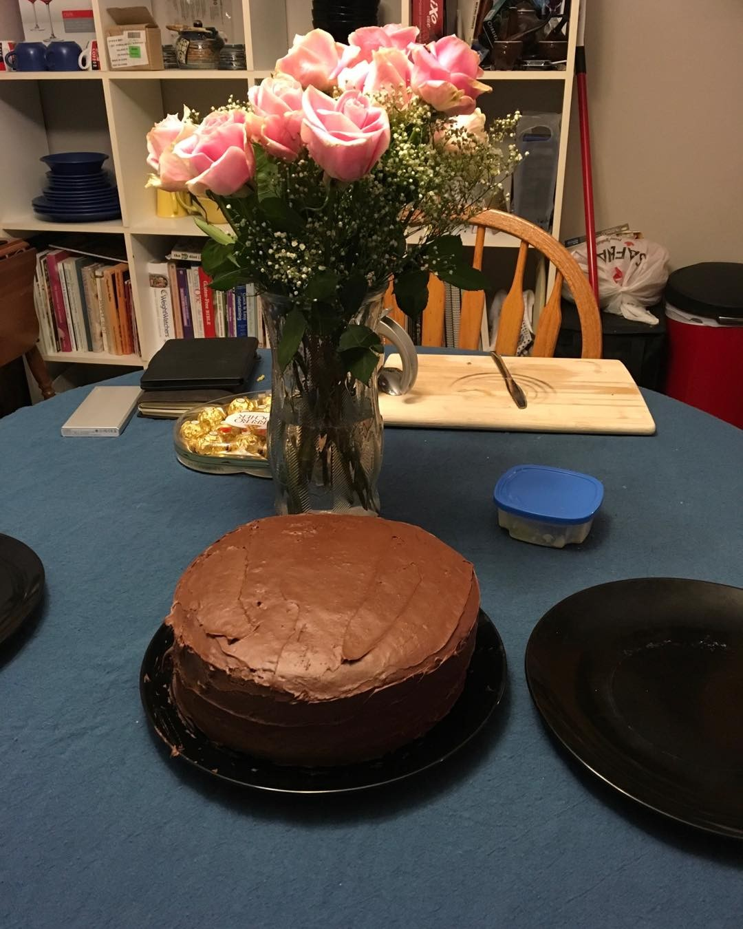 Glad to share this birthday with @swimmer114 (flowers and homemade cake courtesy the husbeast) 😊
