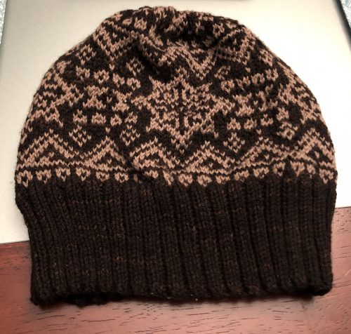 Native Winter Beanie, hat designed by Sheri Fuller
